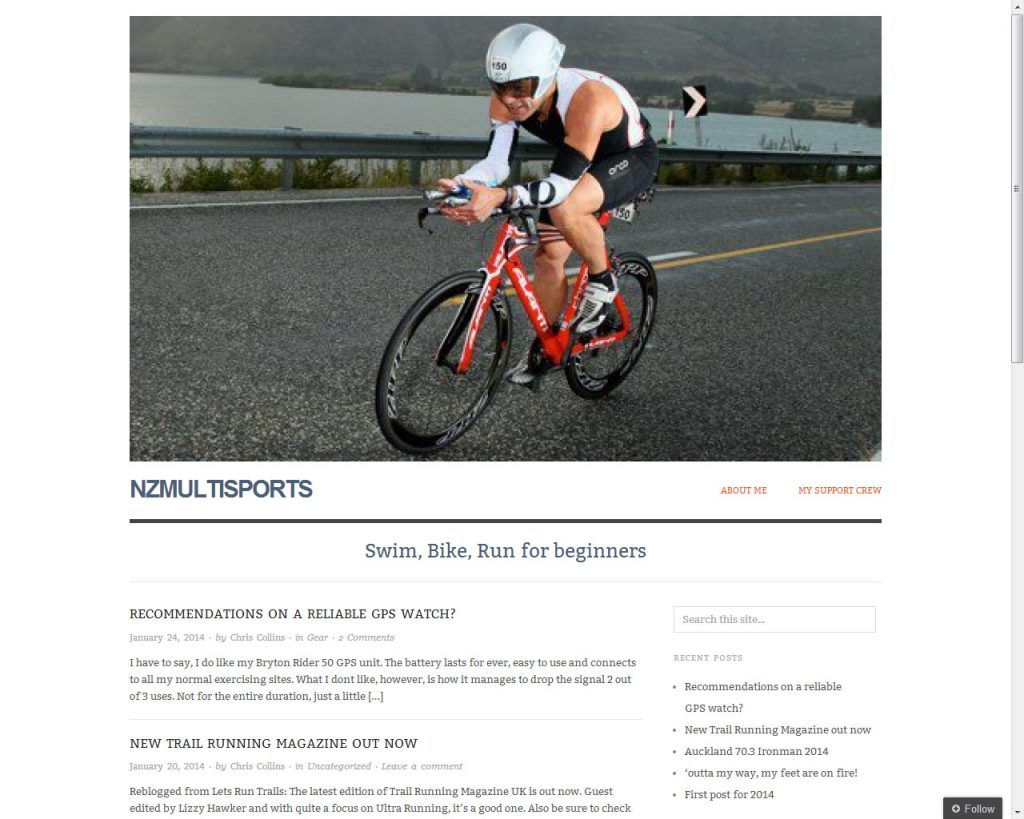 Screenshot of NZ multisports home page