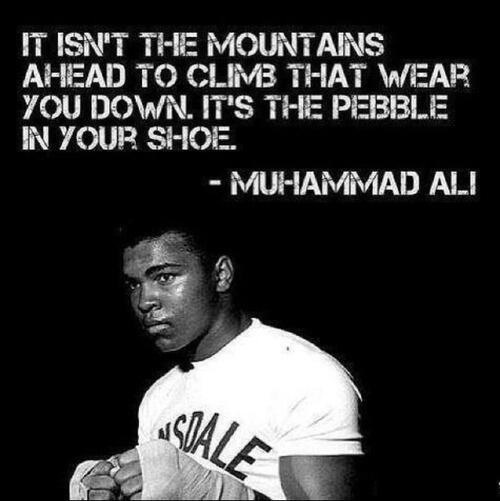 It isn't the mountains ahead to climb that wear you down, it's the pebble in your shoe - Muhammad Ali