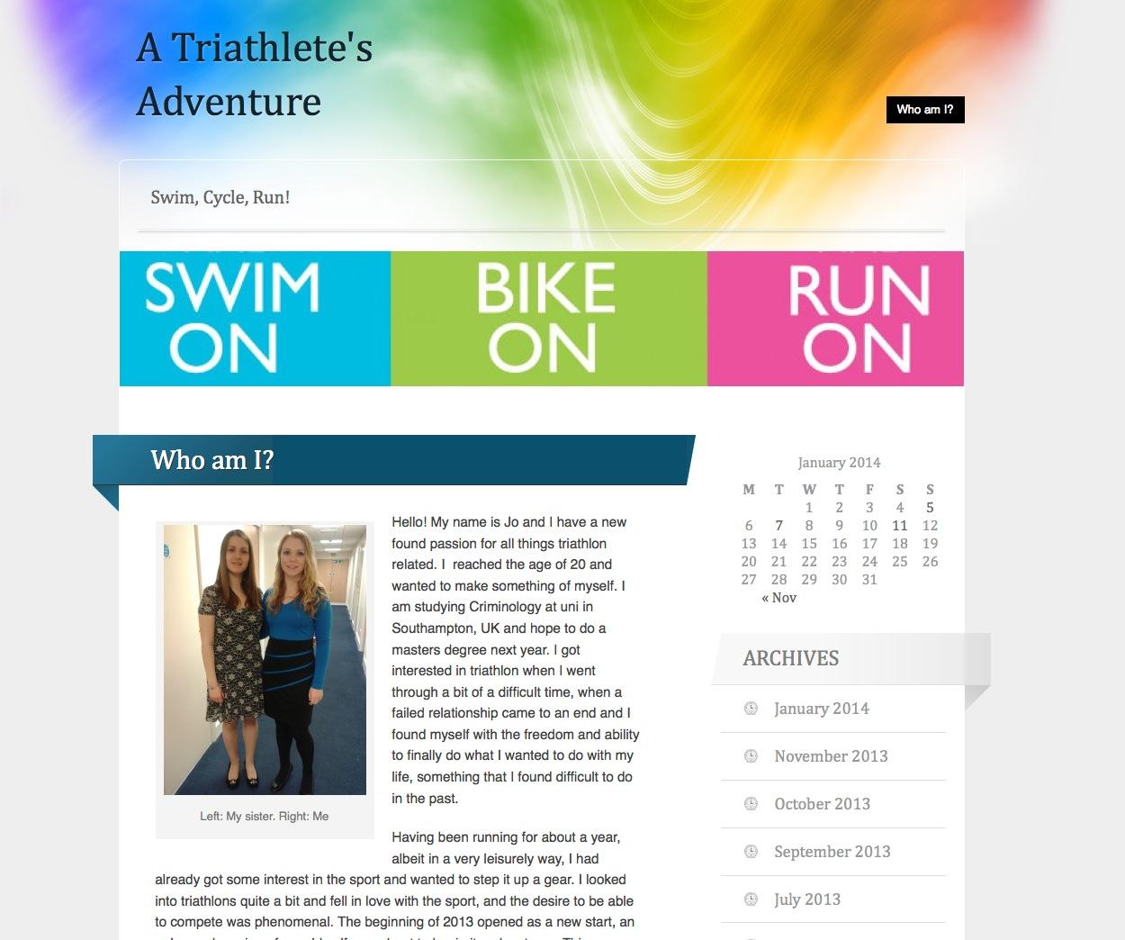A screenshot of Jo's blog, 'A Triathlete's Adventure'.