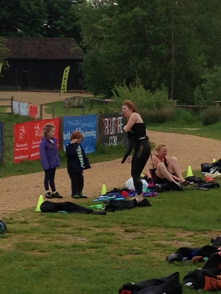 Teri had a full team of supporters at her first aquathlon