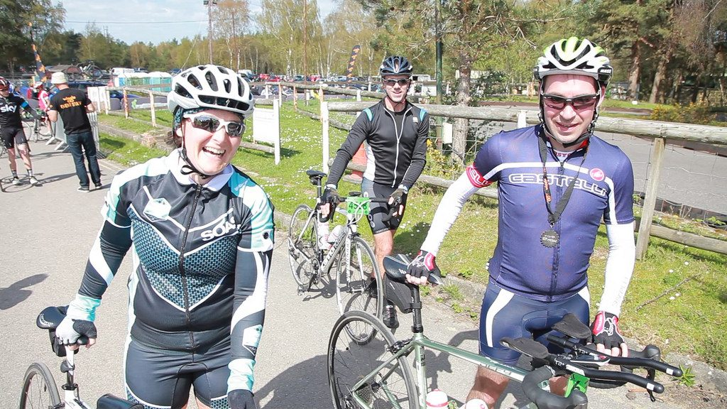 Tamsyn and Stuart at the end of the Wiggle ride