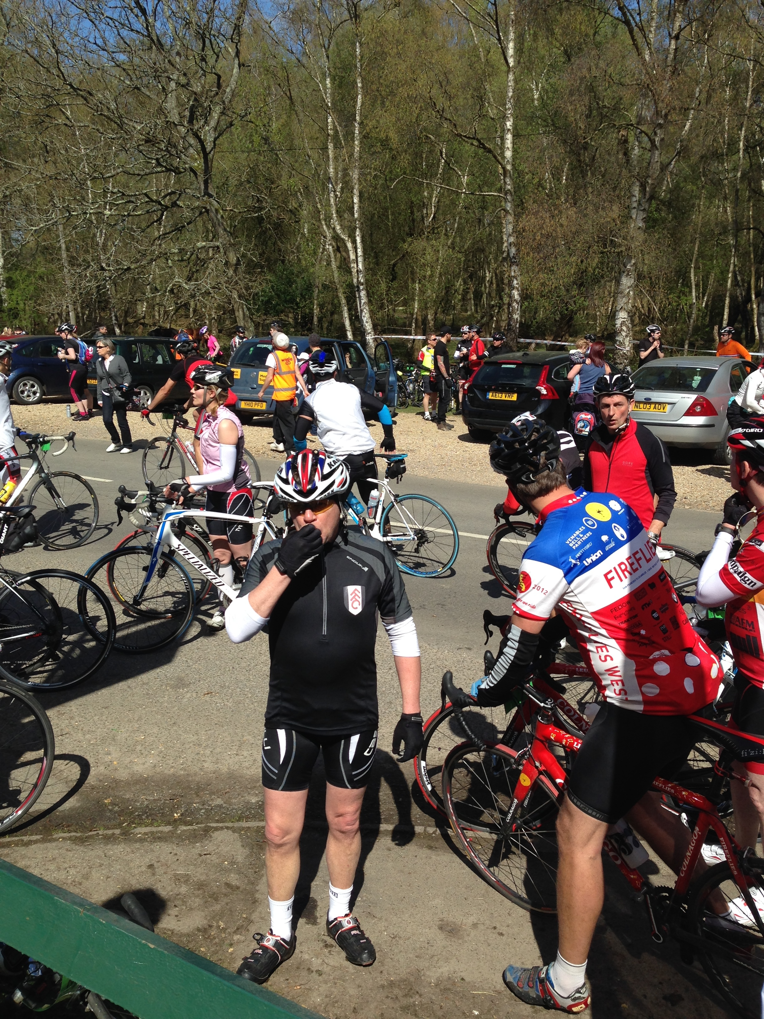 Cyclists arriving at the rest stop