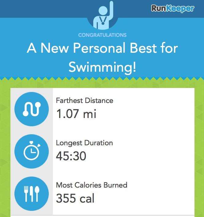 PB for swimming - Runkeeper