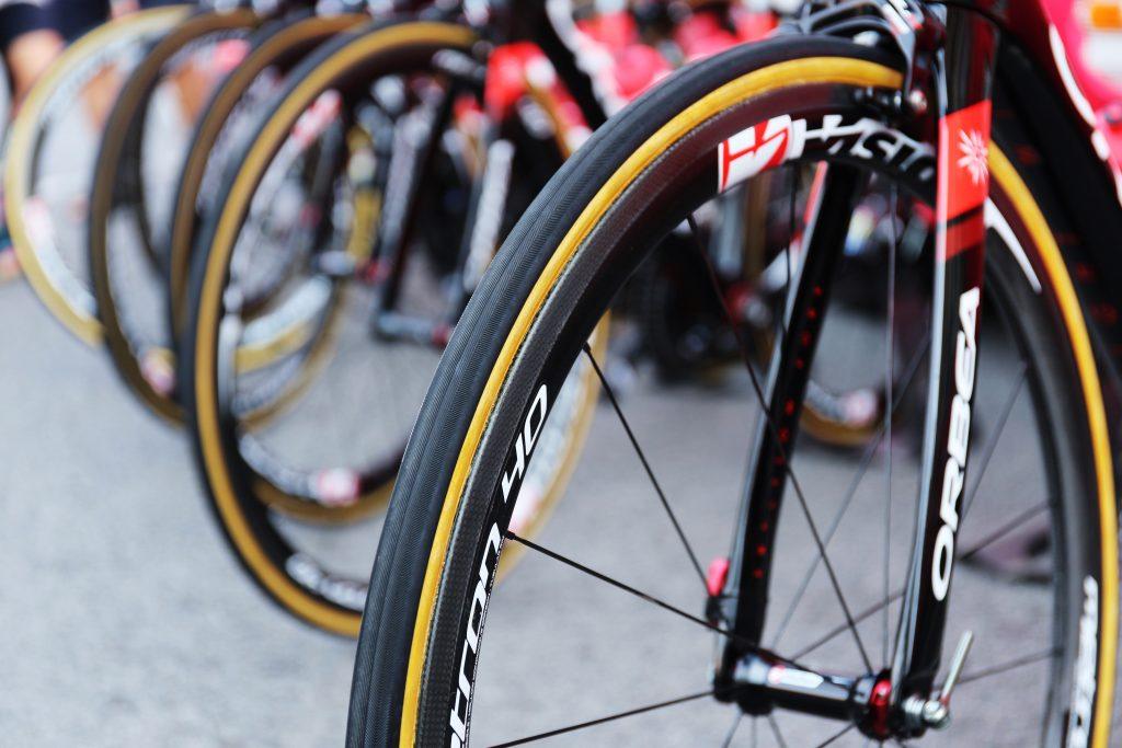 Close up of bike wheels