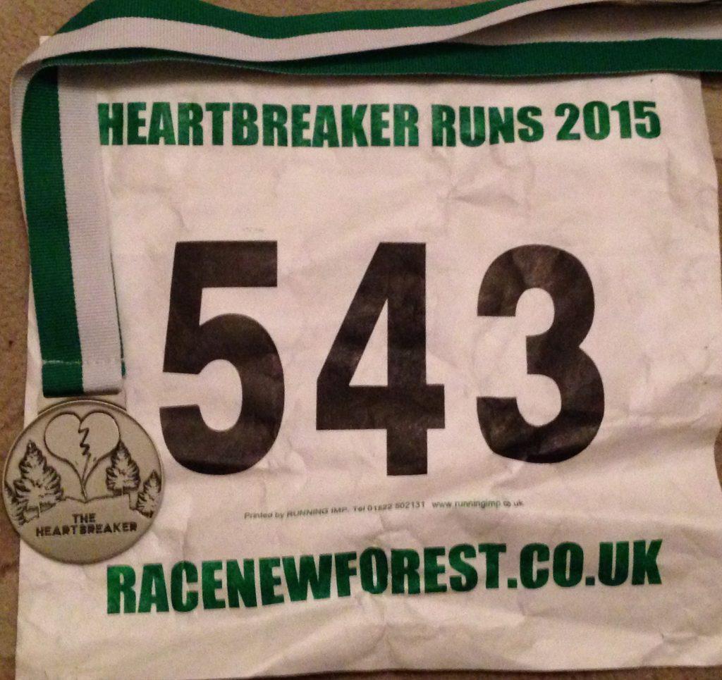 Heartbreaker Half Marathon bib and medal