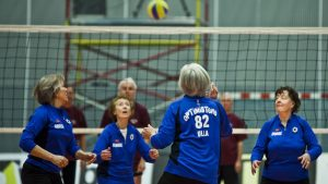 The Optimists is about volleyball players who are growing old. This is a still from the film.