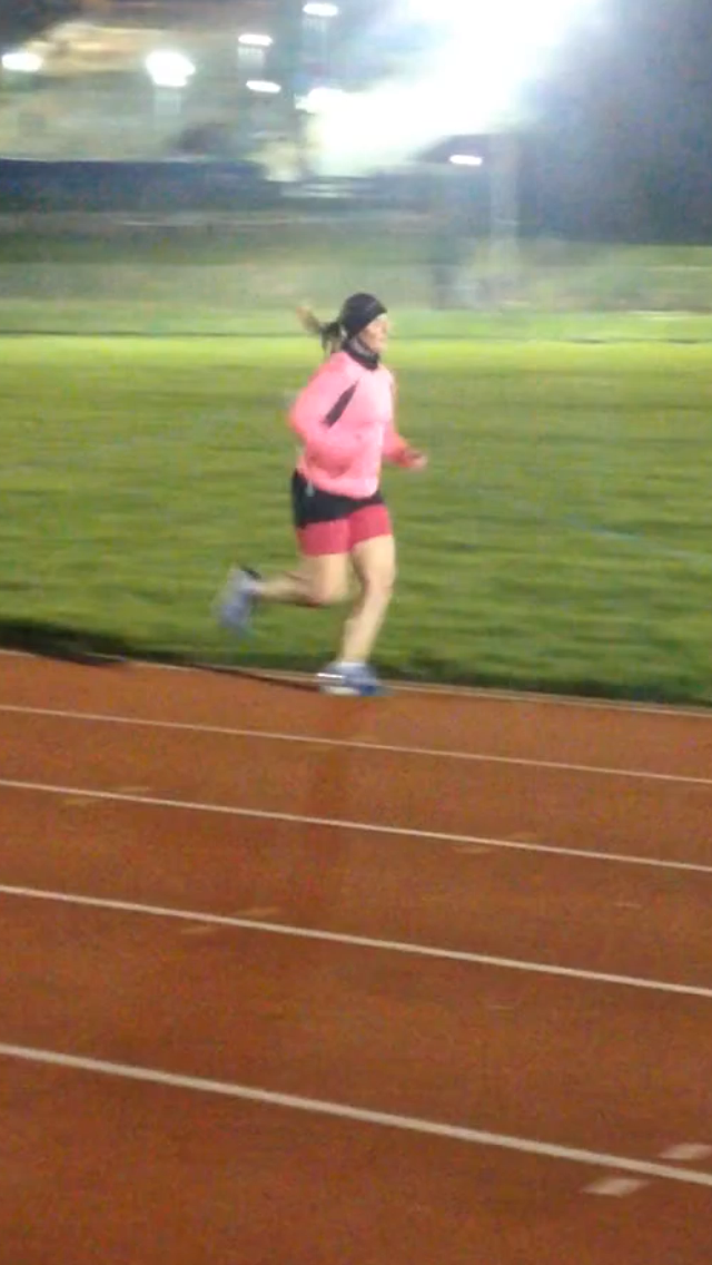 One of the benefits of working with a coach - there's someone to take a photo of me running around the track.