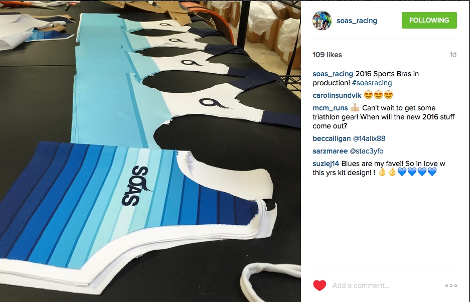 Glimpses of the SOAS sports bras 2016 being produced