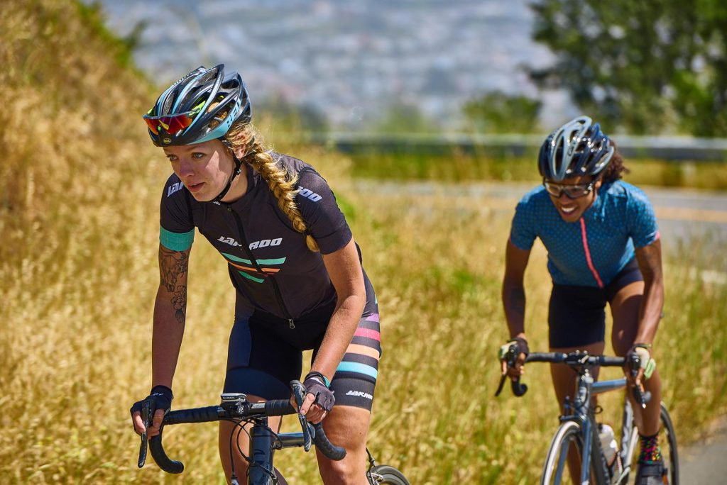 Image from Strive by Strava showing two women on road bikes