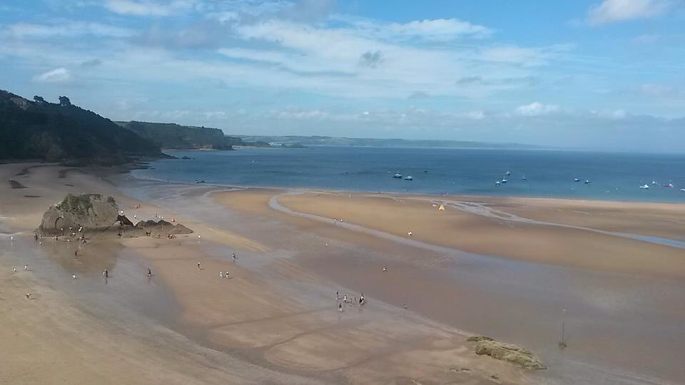 The beach at Tenby with the tide out.