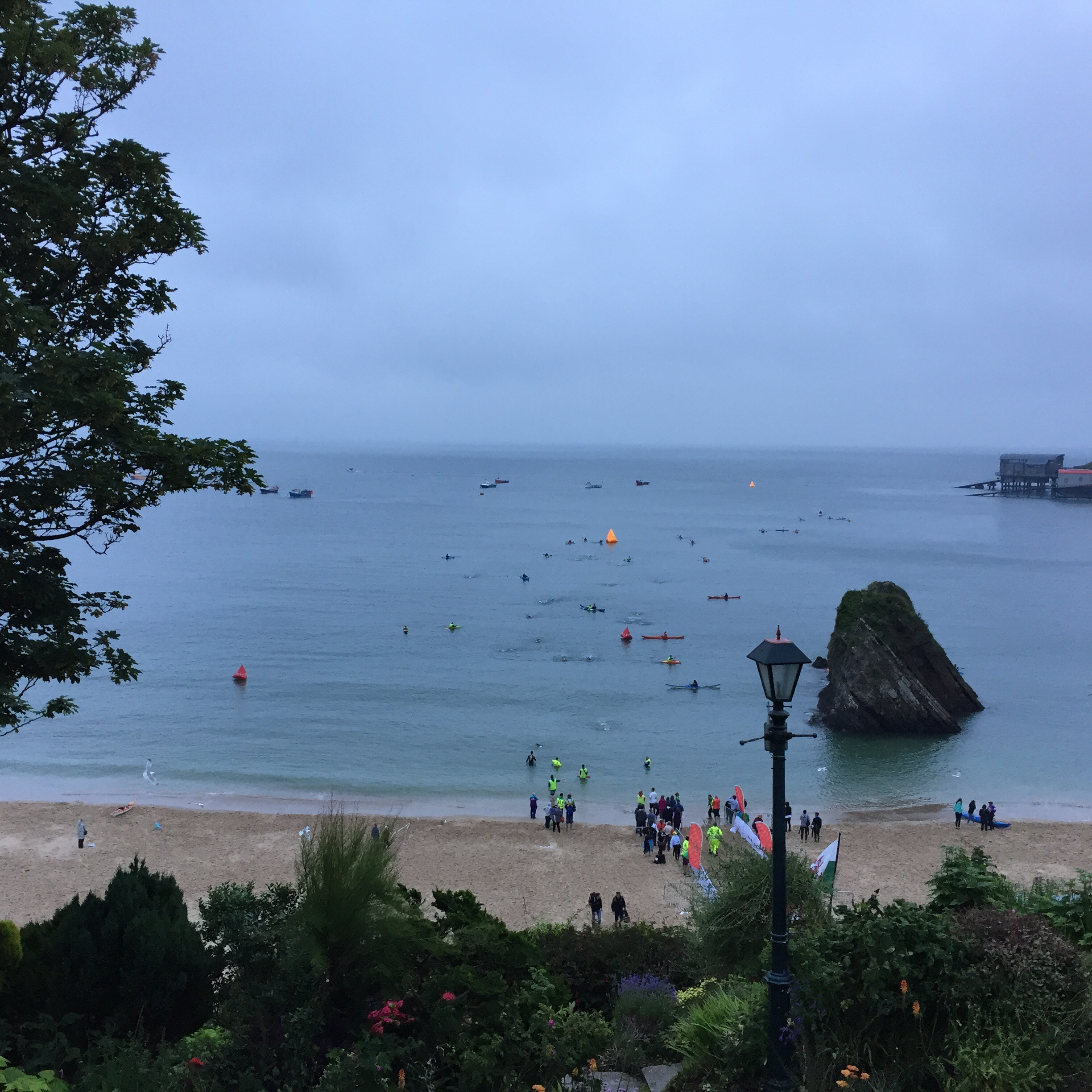 Looking down at the beach and sea from the street in Tenby.