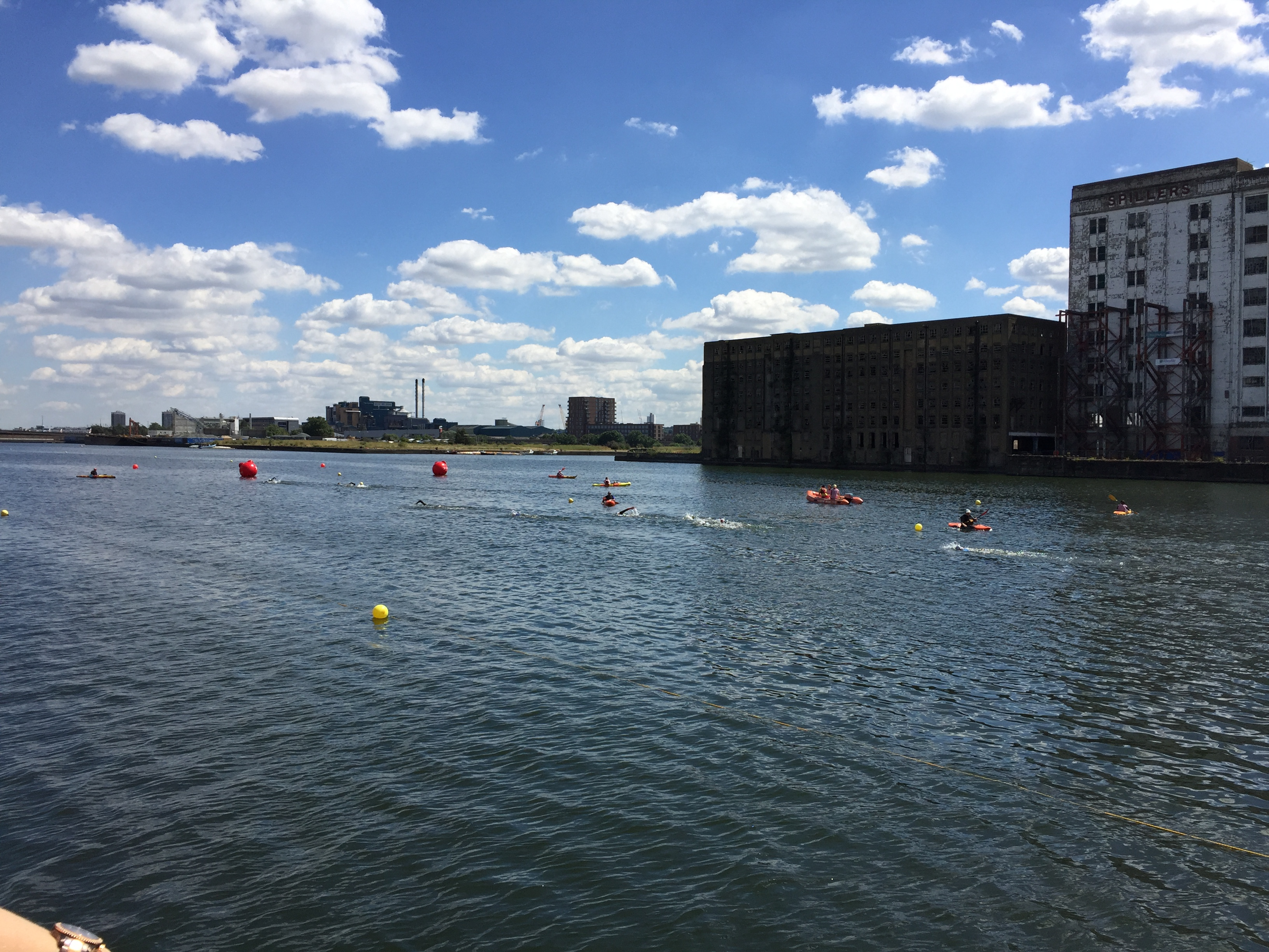 Second lap of the swim - Stu's there at the front of the chase pack