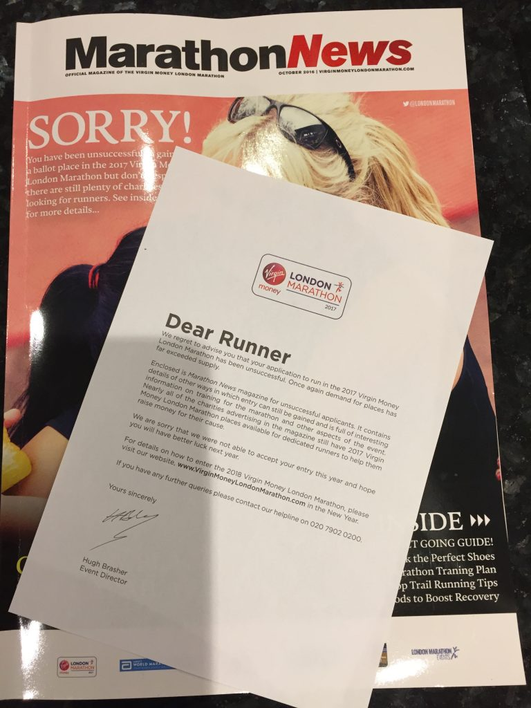 London Marathon rejection letter and magazine