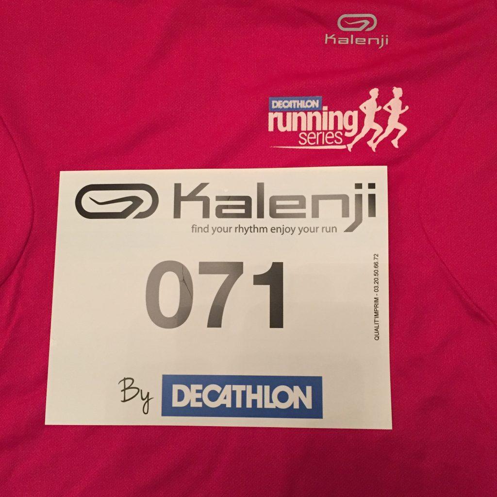 My Decathlon 5k race number.