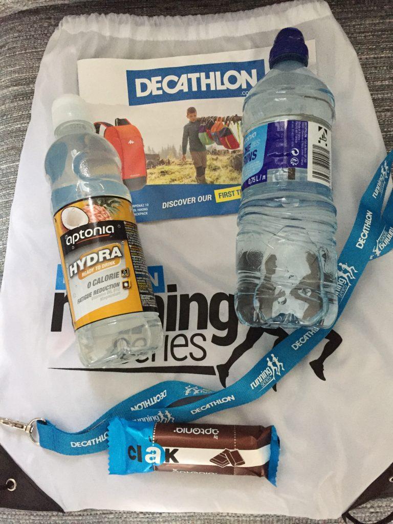 Decathlon Running Series 5k goodie bag.