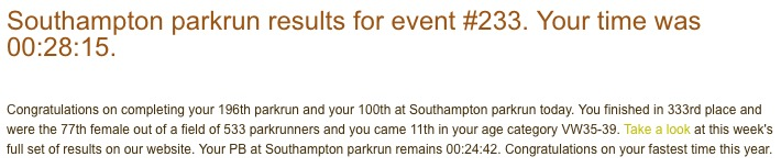 First parkrun after having a baby