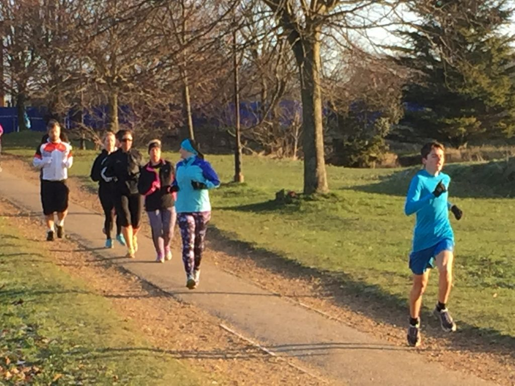 Kim, Vicky and Tamsyn running at Netley Abbey parkrun