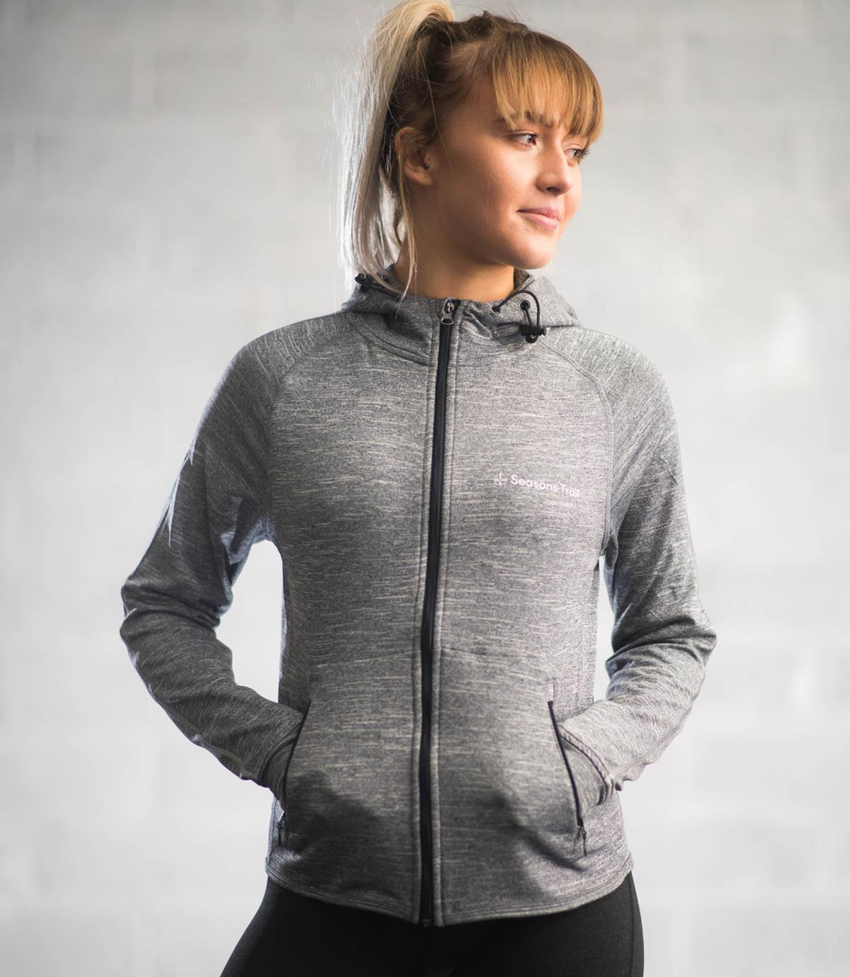 Season's Trail grey running hoodie