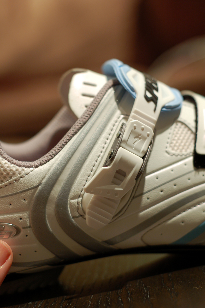 A close up of a Specialized cycling shoe.