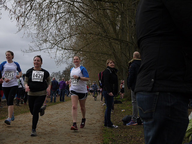 Tamsyn running towards the finish line at Eastleigh 10k.