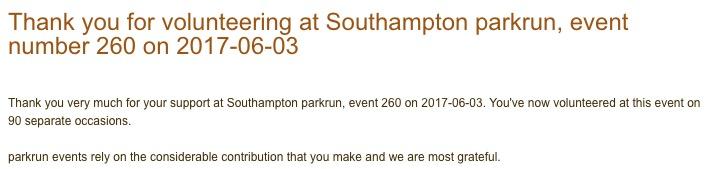Southampton parkrun 260 03 June 17 vol