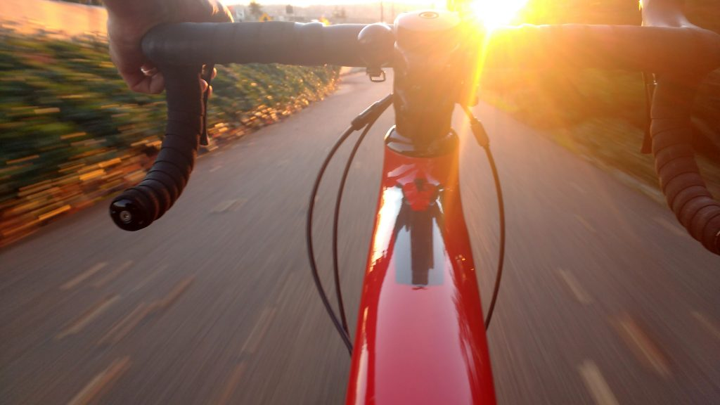 Close up of the handlebars on a bike