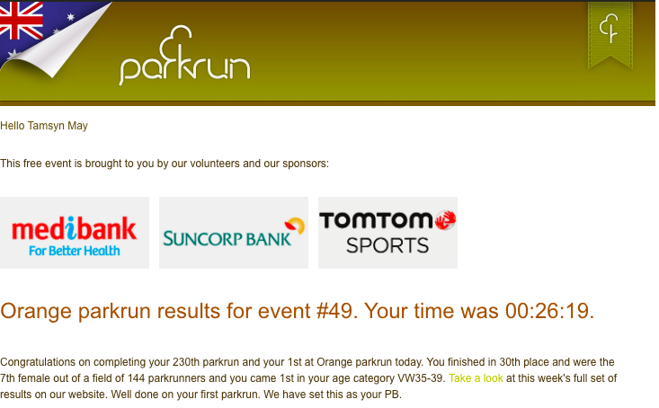 Tamsyn's result from Orange parkrun.