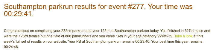 Tamsyn's result from Southampton parkrun on 14th October 2017.