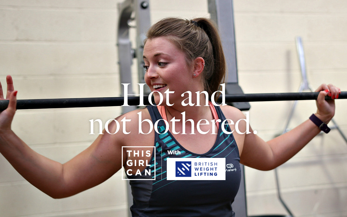 Woman doing free weights with the slogan 'Hot and not bothered'