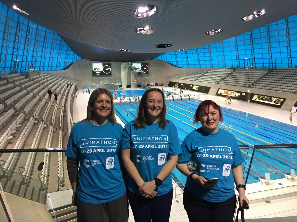 Tamsyn and two other Swimathon ambassadors