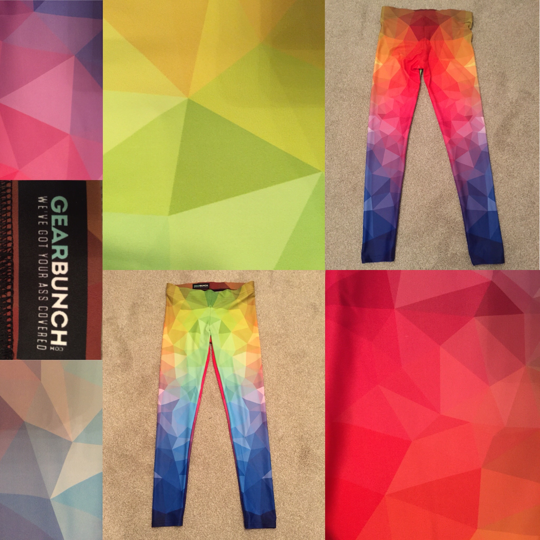 Gearbox leggings. The pattern is brightly coloured triangles.