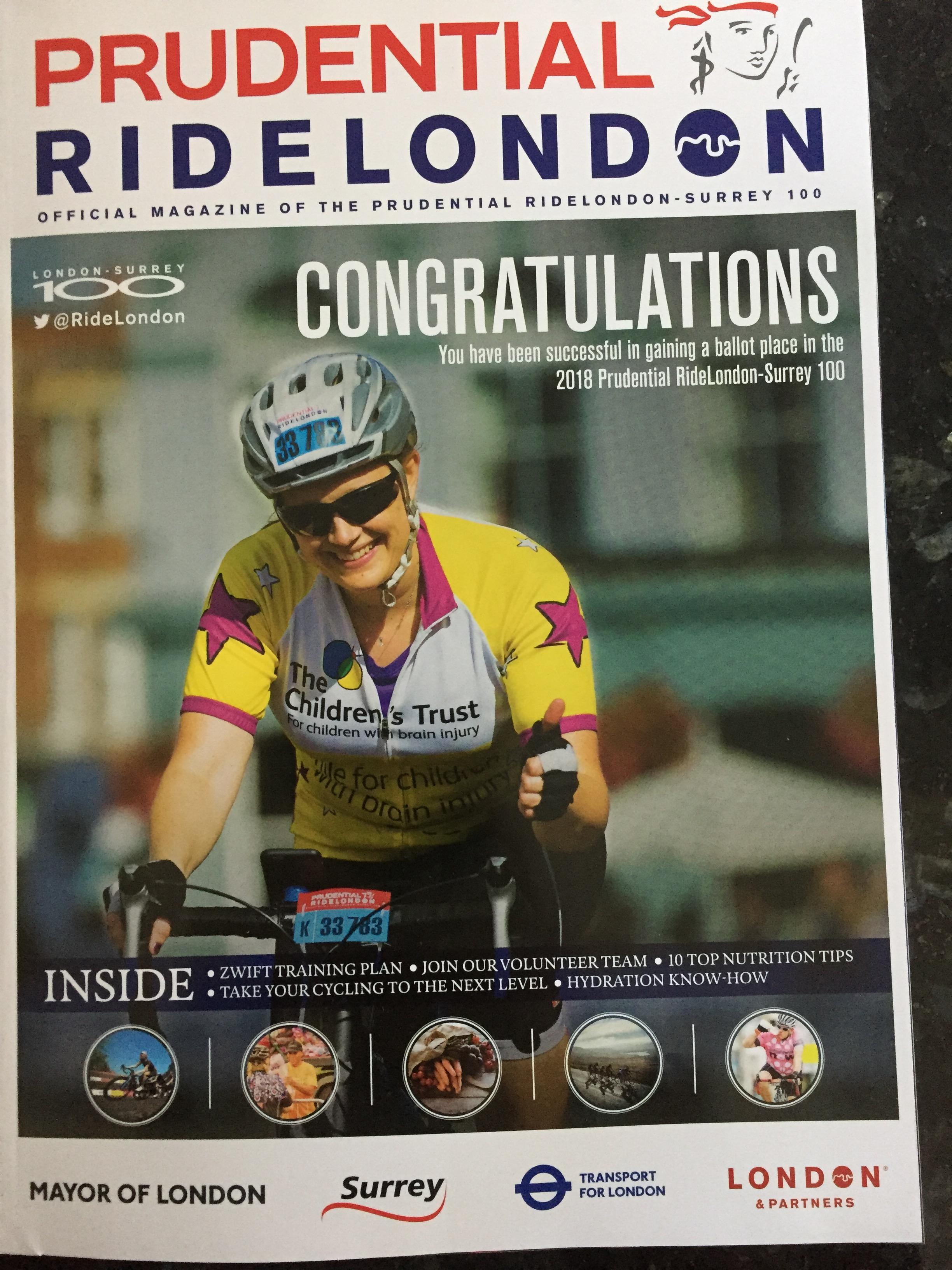 RideLondon 2018 congratulations magazine.