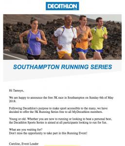 Decathlon 5k series advert.