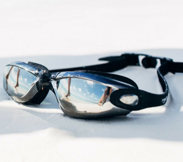 Image of mirrored open water swimming goggles