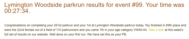 Tamsyn's result email from Lymington parkrun #99.