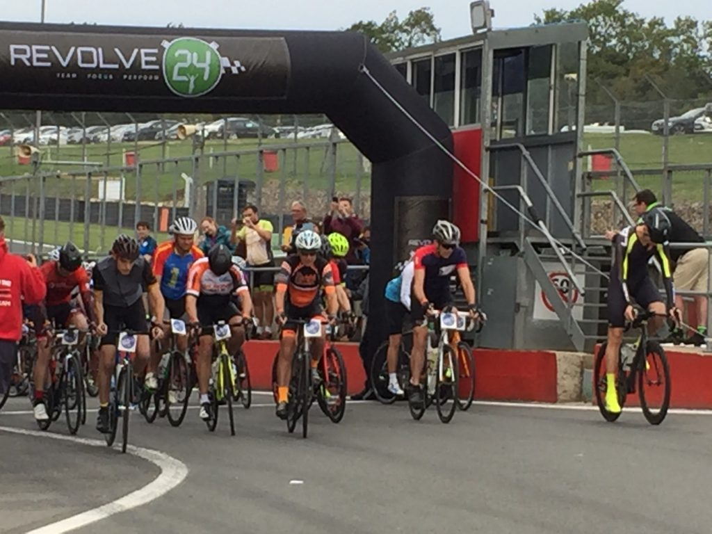Cyclists at the start of Revolve24 six hour event