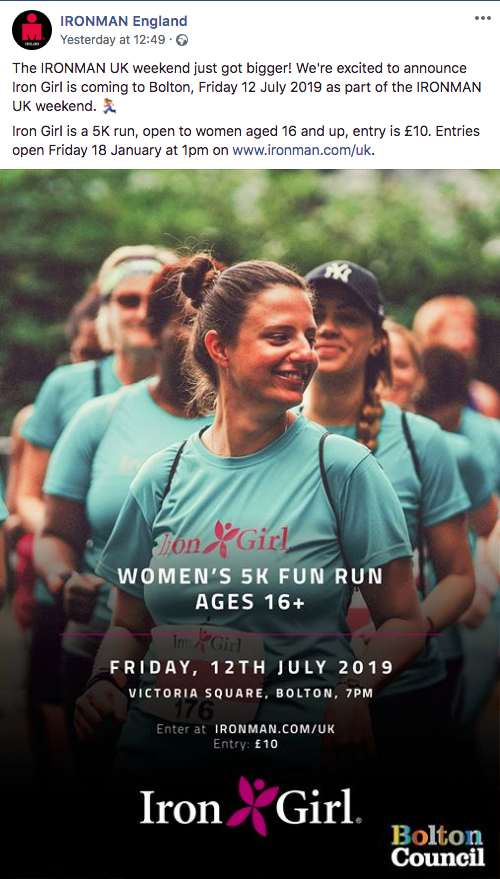 """IRONMAN England Iron Girl announcement - screenshot from Facebook. """"The IRONMAN UK weekend just got bigger! We're excited to announce Iron Girl is coming to Bolton... as part of the IRONMAN UK weekend."""" The image shows women wearing turquoise Iron Girl t-shirts with pink logos. The logo is a cross between a butterfly and a flower."""
