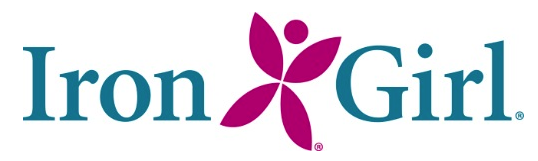 IronGirl logo. It is pink and turquoise.
