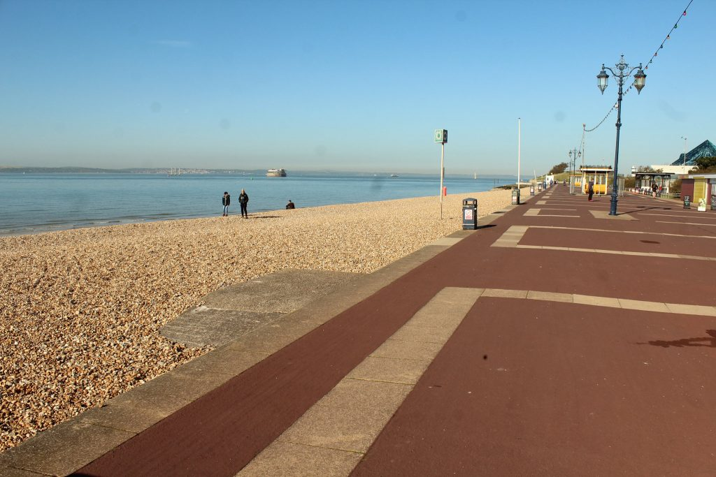 View towards Portsmouth Pyramids Centre. The start of Southsea parkrun is off to the right.