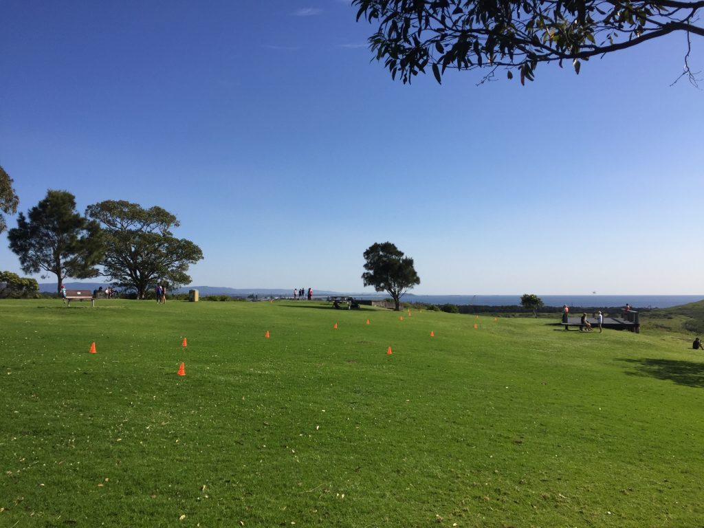 The finish at Shellharbour parkrun.