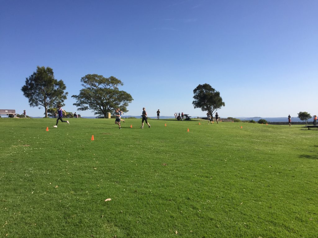 Runners heading towards the finish at Shellharbour parkrun.