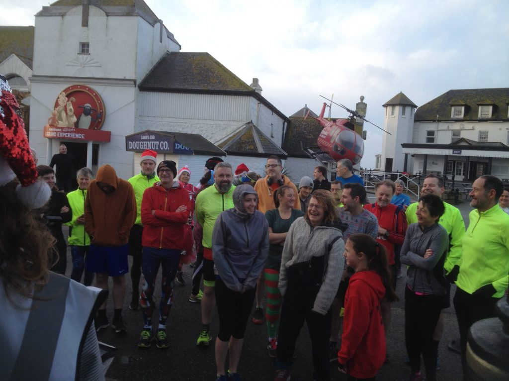 parkrunners listening to the run brief.