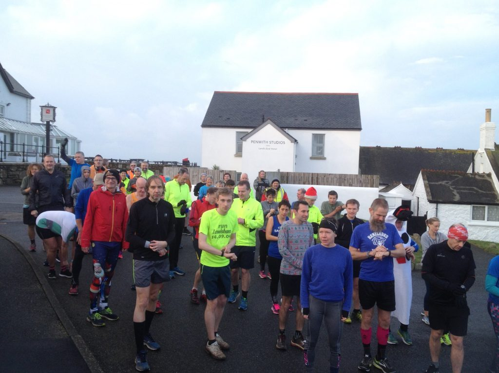 Runners getting ready at the start line.