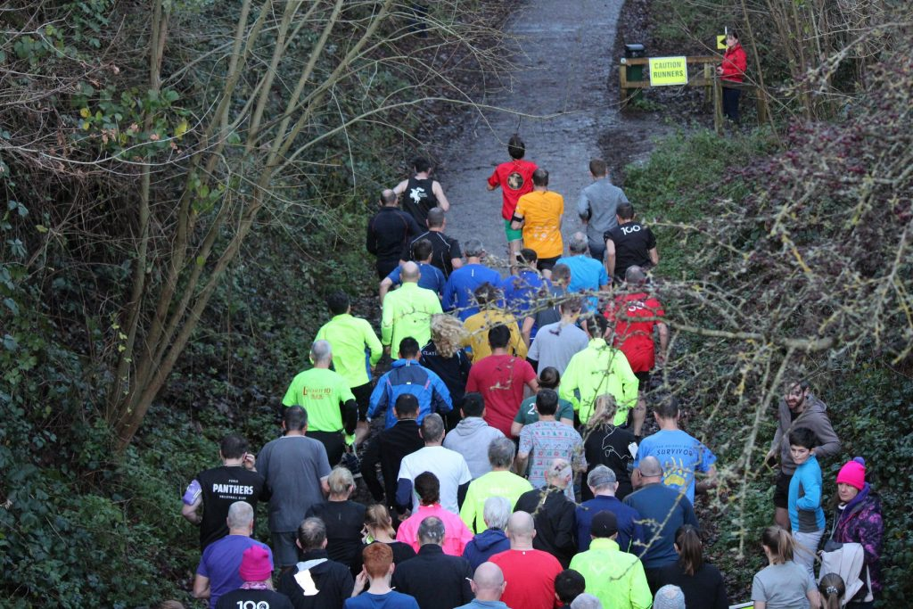 Runners at the start of Blandford parkrun.