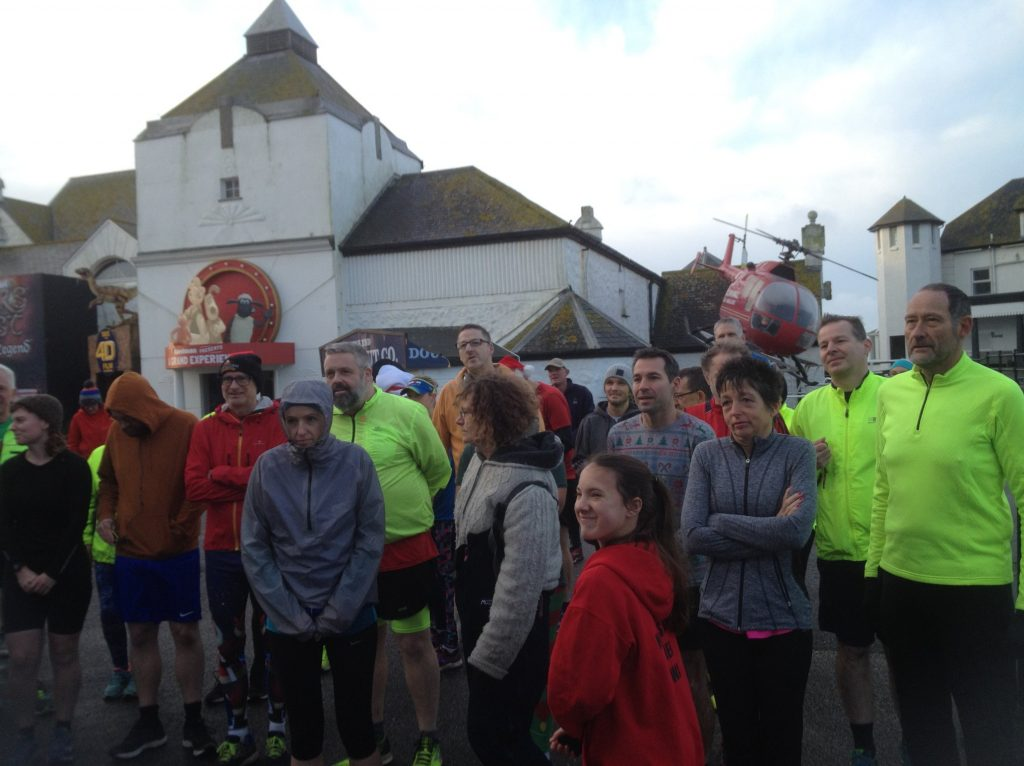 The crowd in front of the Run Director at Land's End parkrun.
