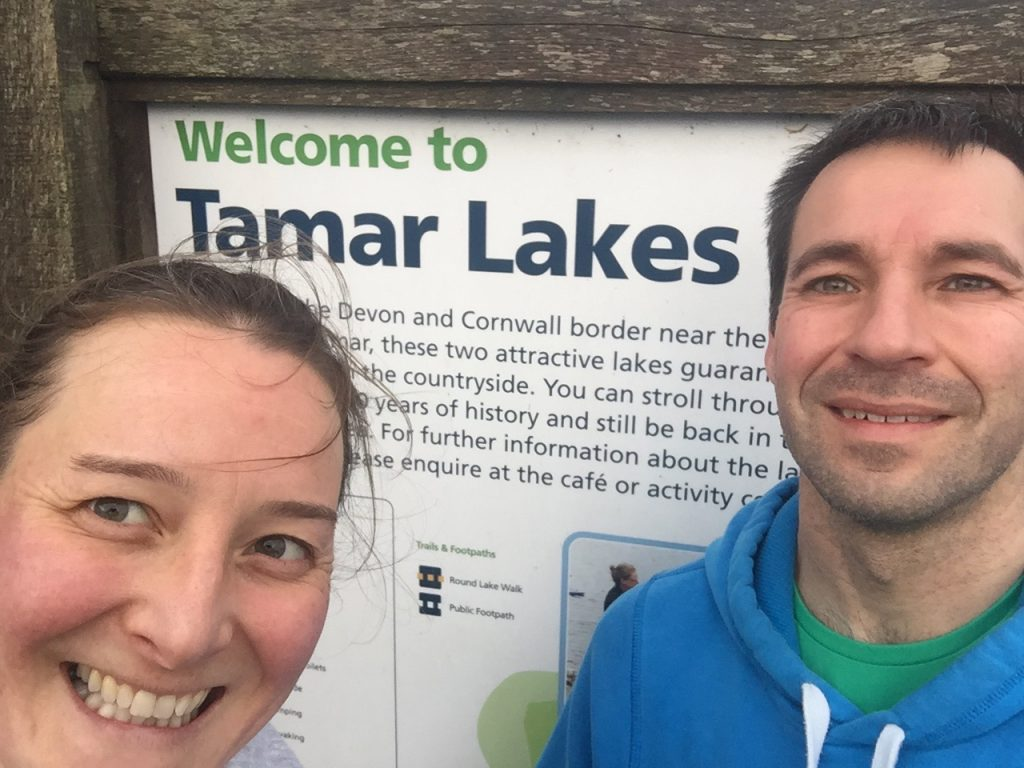 Selfie of Tamsyn and Stuart at Tamar Lakes.