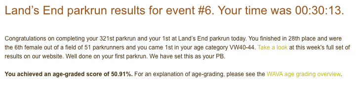Tamsyn's result for Land's End parkrun on 21st December 2019: 30:13.