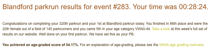 Tamsyn's result email from Blandford parkrun.