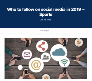 Screenshot of 'Who to follow on social media in 2019 - sports'.