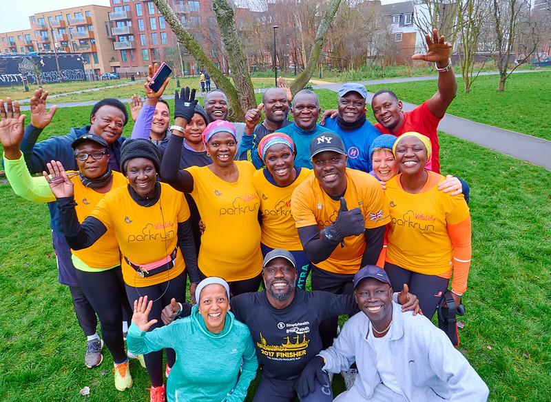 Josephine Ocaka and other members of the Ugandan Crew at Burgess parkrun.